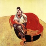 1965 Francis Bacon - Portrait of Lucian Freud on Orange Couch